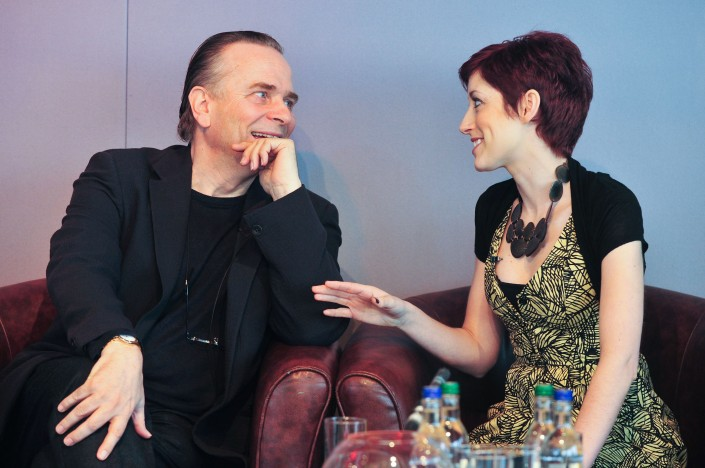 Mark_elder_speaks_to_connie_fisher_at_the_lowry_for_the_launch_of_wonderful_town