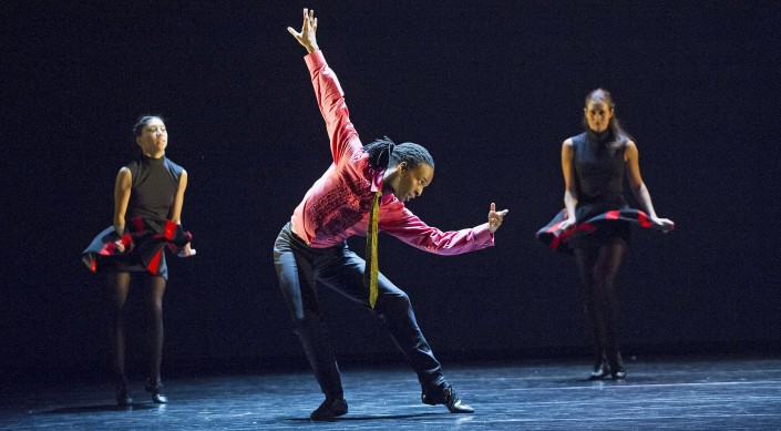 Estela Merlos, Mbulelo Ndabeni and Julia Gillespie in Rooster. Photo by Tristram Kenton.
