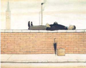 LS Lowry - Man Lying a Wall