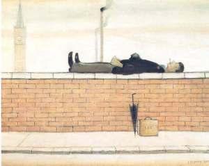 LS Lowry - Man Lying a Wall