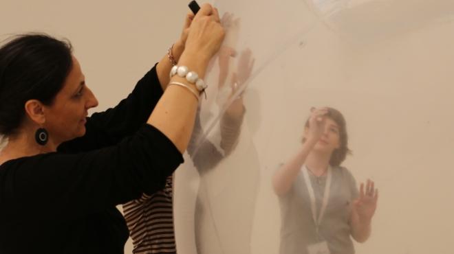 Karina Smigla-Bobinksi installing Ada at The Lowry