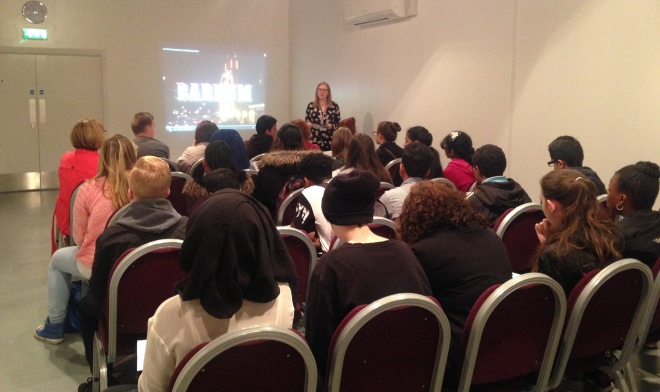 Young people being briefed on the project