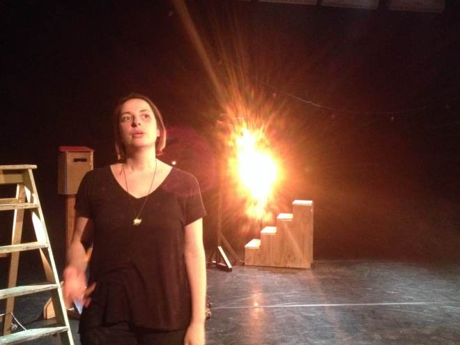 Artist Laura Lindow goes through her lines whilst Cue to Cue is set