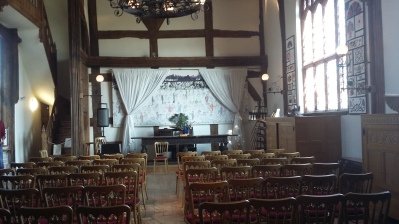 Opera North's 'stage' in The Great Hall at Ordsall Hall