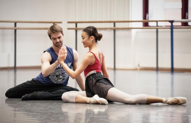 Lachlan Monaghan and Yaoqian Shang rehearse Aladdin; photo Ty Singleton